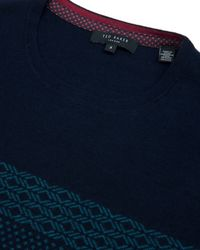 Ted Baker - Blue Jacquard Pattern Jumper for Men - Lyst
