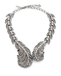 Oscar de la Renta | Metallic Pave Crystal Feather Wrap Necklace | Lyst