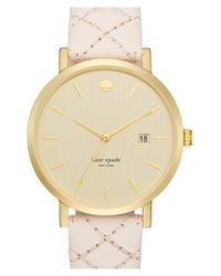 kate spade new york | Metallic 'metro Grand' Quilted Strap Watch | Lyst