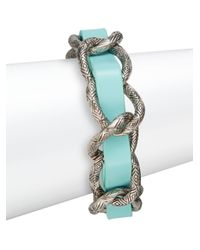 House of Harlow 1960 - Blue Engraved Link Leather Bracelet/silvertone - Lyst