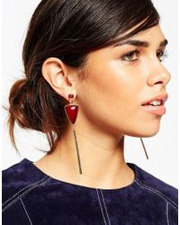 ASOS - Red Color Drop 70s Earrings - Lyst