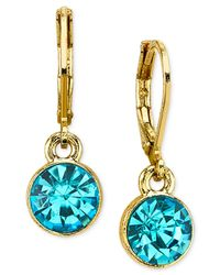 2028 | Blue Round Crystal Drop Earrings | Lyst