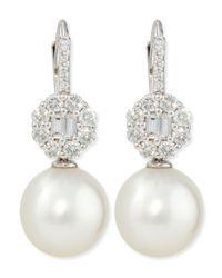 Belpearl | Octagon Diamond & White South Sea Pearl Earrings | Lyst