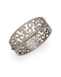 Bavna | Metallic 7.48 Tcw Pavã© Champagne Diamond & Sterling Silver Cutout Bangle | Lyst