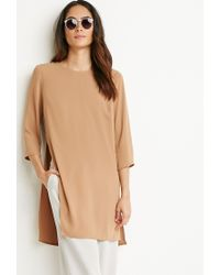 Forever 21 | Natural High-slit Longline Woven Top | Lyst