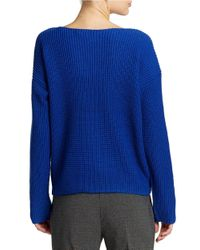 Lord & Taylor | Blue Wool Blend Waffle Knit Sweater | Lyst