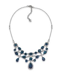 Carolee | Black Simply Blue Crystal Cluster Necklace | Lyst