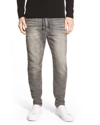 Azul By Moussy - Gray Dobby Denim Knit Jogger Pants for Men - Lyst