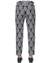 Dolce & Gabbana - Black 18cm Printed Hemp & Linen Blend Pants for Men - Lyst