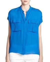 Vince - Blue Silk Cap-sleeve Blouse - Lyst