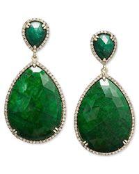 Macy's - 14k Gold Earrings, Dyed Green Corundum Sapphire (65 Ct. T.w.) And Diamond (3/4 Ct. T.w.) Teardrop Earrings - Lyst