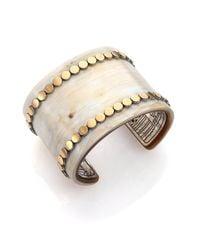 John Hardy - Metallic Dot Buffalo Horn, 18K Yellow Gold & Sterling Silver Wide Cuff Bracelet - Lyst