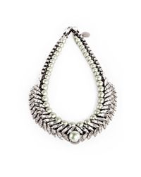 Ellen Conde - Metallic Crystal Braid And Powder Green Pearl Sr6 Necklace - Lyst
