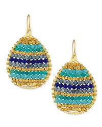 Panacea - Blue Beaded Teardrop Earrings - Lyst