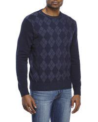 Izod - Blue Textured Argyle Sweater for Men - Lyst