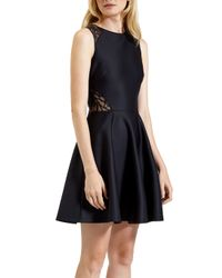 Ted Baker - Black Venma Lace Detail Skater Dress - Lyst