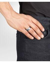 Bottega Veneta - Metallic Intrecciato Oxidized Silver Ring for Men - Lyst
