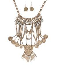AKIRA - Metallic Bazaar Necklace Coin Earring Set - Lyst