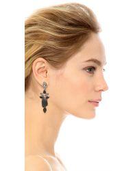Oscar de la Renta   Black Crystal Resin Earrings   Lyst