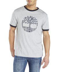 Timberland | Gray Tree Logo Ringer Tee for Men | Lyst