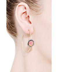 Jemma Wynne | One Of A Kind Pink Tourmaline and Diamond Hoop Earrings | Lyst