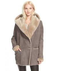 Vince - Gray Hooded Genuine Shearling Jacket - Lyst