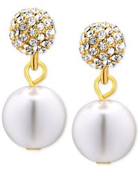 T Tahari | Metallic Gold-tone Imitation Pearl And Pavé Crystal Drop Earrings | Lyst