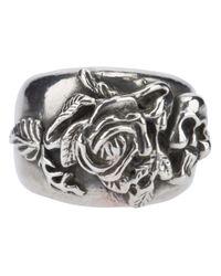 Mawi - Metallic Rose Skull Ring for Men - Lyst