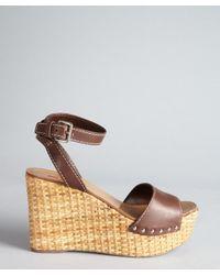 Prada - Sport Brown Leather Ankle Strap Basketweave Wedges - Lyst