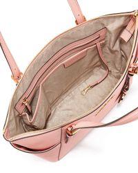 Lyst - MICHAEL Michael Kors Jet Set Saffiano Tote Bag in Pink ea4d76cd58
