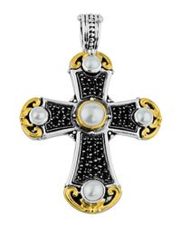 Konstantino | White Large Spinel & Pearl Cross Pendant Enhancer | Lyst