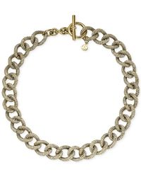 Michael Kors | Metallic Gold-Tone Clear Pavé Curb Chain Necklace | Lyst