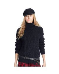 Polo Ralph Lauren - Black Cabled Turtleneck Sweater - Lyst
