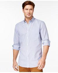 Cutter & Buck | Blue Big And Tall Men's Tattersall Button-down Shirt for Men | Lyst