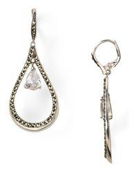 Judith Jack | Metallic Sterling Silver Marcasite Teardrop Cubic Zirconia Earrings | Lyst