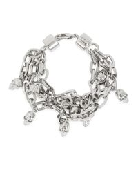 Alexander McQueen | Metallic Silver Tone Skull Chain Bracelet | Lyst