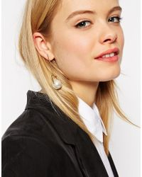 ASOS | Metallic Mismatch Abstract Faux Pearl Earrings | Lyst