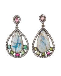 Bavna | Multicolor Sterling Silver Earrings With Pear Drop Labradorite, Tourmaline & Champagne Rose Cut Diamonds | Lyst
