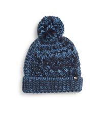 Block Headwear | Blue Chunky Knit Pom-pom Beanie | Lyst