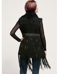 Free People - Black Shearling Fringe Vest - Lyst