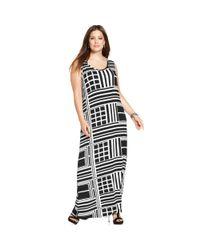 Spense - White Plus Size Sleeveless Geoprint Maxi Dress - Lyst