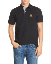 Psycho Bunny | Black 'gold Bunny' Pique Polo for Men | Lyst