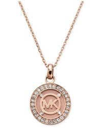 Michael Kors | Pink Rose Gold-Tone Blush Mk Logo Disc Necklace - Macy'S Exclusive | Lyst
