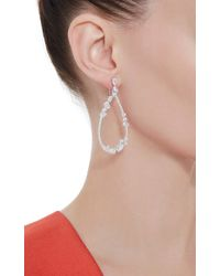 Fallon | Metallic Rhodium Floating Stone Teardrop Earrings | Lyst