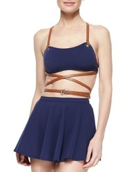 Michael Kors - Blue Strappy Belted Skirted Two-piece Swimsuit - Lyst