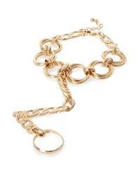 River Island - Metallic Gold Tone Chain Hand Panja - Lyst