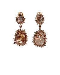 Sharon Khazzam | Metallic Brown-diamond Double-drop Earrings | Lyst