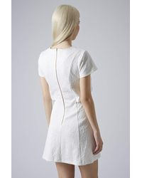 TOPSHOP - White Petite Jacquard Crop Skater Dress Cream - Lyst