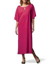 Joan Vass - Pink Keyhole-front Long Dolman Dress - Lyst