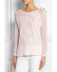 Balmain | Pink Pointelle Knit Cotton Sweater | Lyst